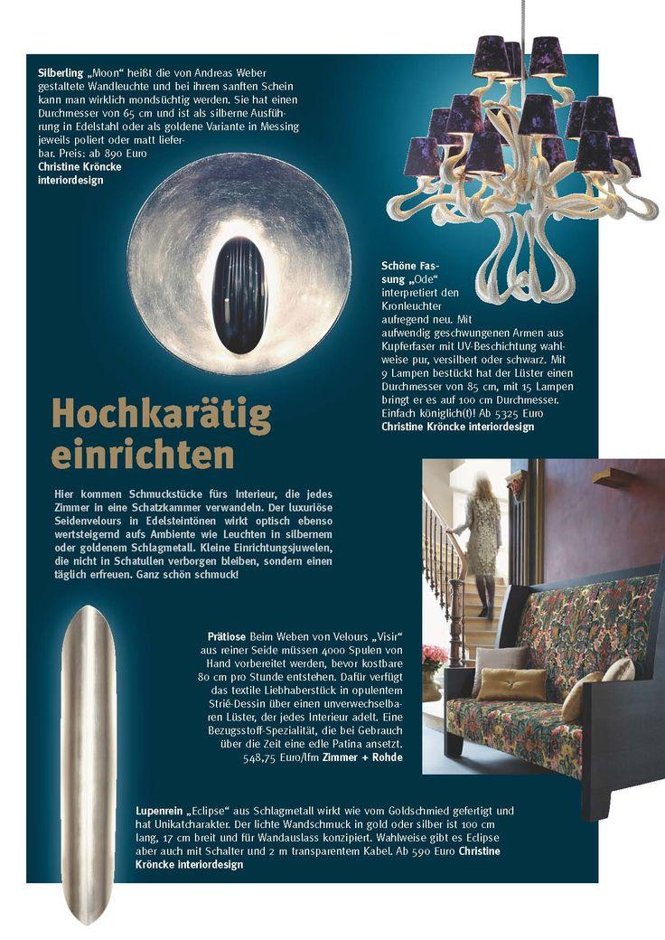 Hochkarätig Einrichten   Zimmer Rohde / Christine Kröncke Interiordesign    Thalau Relations Newsletter September 2013