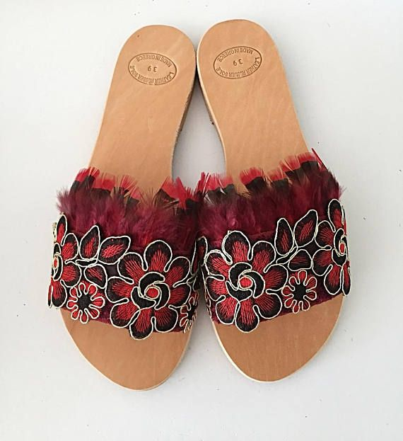 FREE SHIPPING Handmade Leather Slip On Sandals