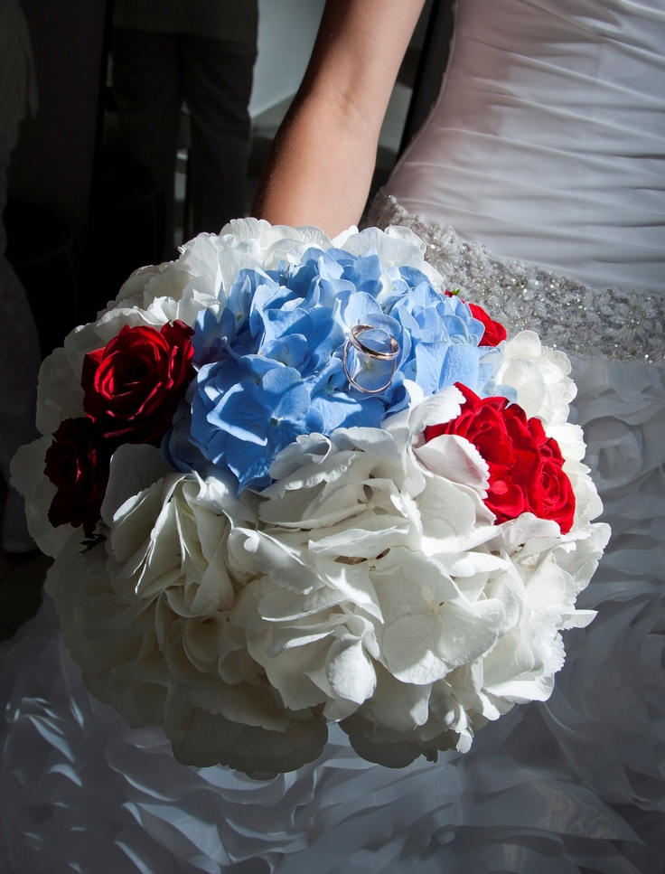 "Hydrangeas and splash of color with red roses- Flower Creations and Decoration: ''Wedding Wish Santorini'' (http://www.facebook.com/SantoriniFlowersAgrokipio)-  Wedding Planner: ""Divine Weddings"""