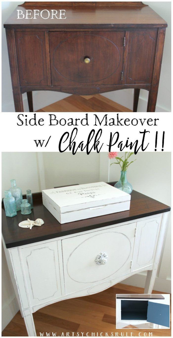 Sideboard Makeover with CHALK PAINT and my favorite top coat! - artsychicksrule.com