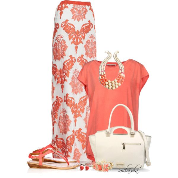 Coral T-Shirt and a Maxi Skirt, created by imclaudia-1 on Polyvore