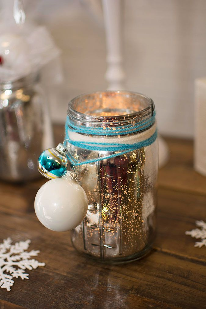 Diy silver mercury glass christmas candle holder mason