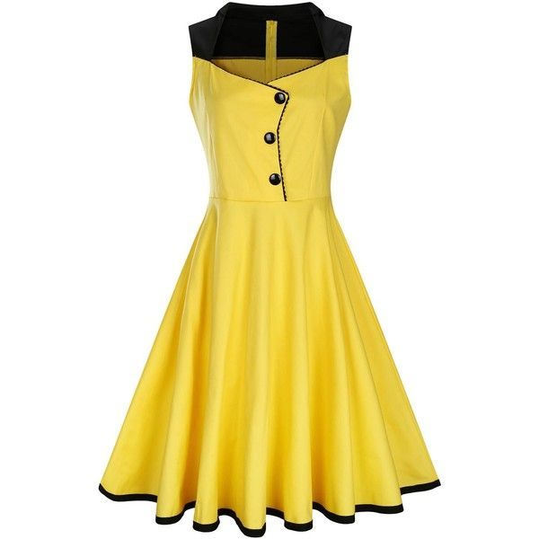 Plus Size Button Embellished 50s Vintage Dress ($22) ❤ liked on Polyvore featuring dresses, embellished dress, yellow dress, plus size yellow dress, embelished dress and womens plus dresses