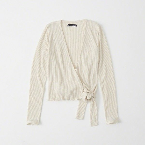 Abercrombie & Fitch Long-Sleeve Wrap Top (48 CAD) ❤ liked on Polyvore featuring tops, cream, crop tops, long sleeve crop top, wrap crop top, cream wrap top and wrap front crop top