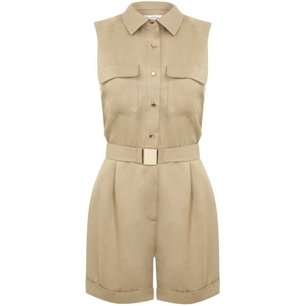 Miss Selfridge Camel Belted Utility Playsuit ($38) ❤ liked on Polyvore featuring jumpsuits, rompers, playsuits, camel, jumpsuits & rompers, romper jumpsuit, brown jumpsuit, playsuit romper and playsuit jumpsuit