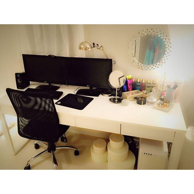 鏡/IKEA…などのインテリア実例 - 2016-02-17 02:43:47 | RoomClip ... 1LDKの鏡/IKEA/ニトリ/一人暮らし/DIY初心者/自作PCデスク