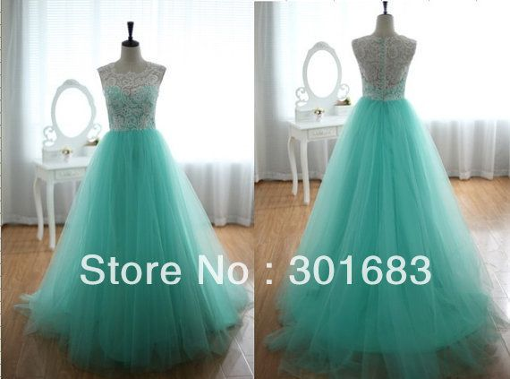 CB001 Wholesale 2013 Actual Product High Collar Graduation Dresses Green and White Venice Lace and Tulle Puffy Prom Dresses US $147.00