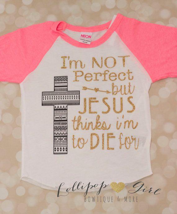 I'm Not Perfect Tee JESUS SHIRT Baseball by LollipopGirlBowtique