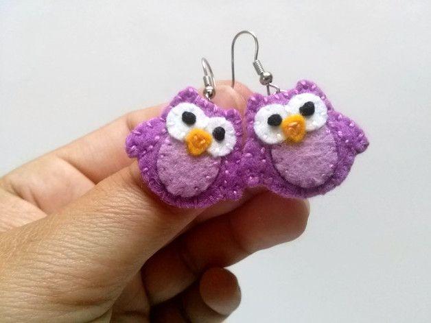 Purple Owl Earrings, Wool felt owl earrings, Owl Dangle Earrings, Animal…