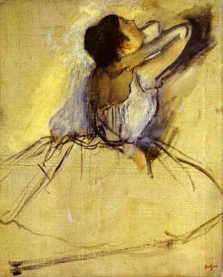 I love the charcoal sketch with the little bit of color.  Dancer, Edgar Degas.