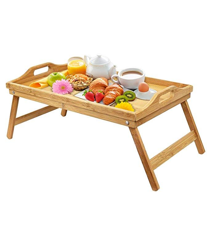 Urbenfit Bed Tray Table Bamboo Portable Lightweight Breakfast
