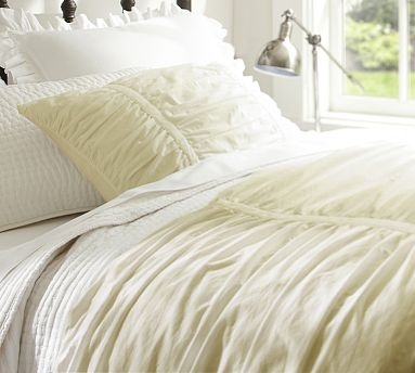 Hadley Ruched Duvet Cover Amp Sham Ivory Potterybarn My
