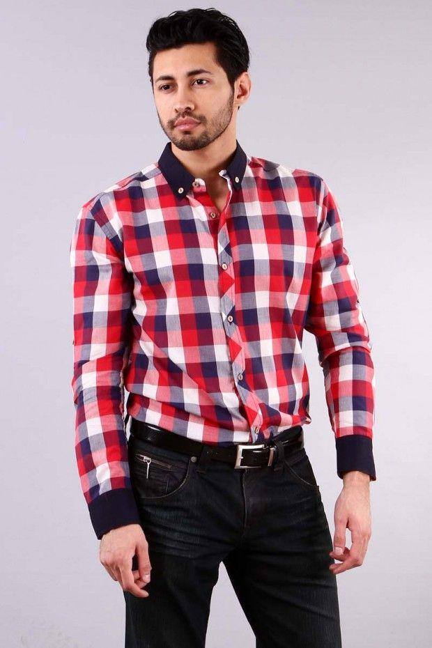 kırmızı Yeni Sezon Erkek Gömlek Modelleri