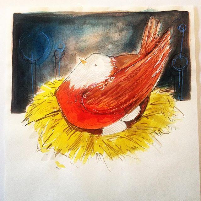 Nesting birds #bird #nesting #family #nurture #ink #promakers #sakura #feathers #plumage #mother #irishillustrator