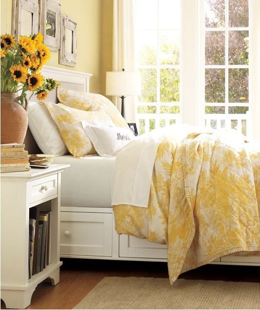 Sunshine yellow bedroom from pottery barn