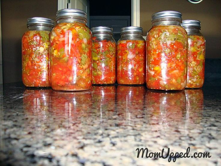 Homemade salsa made from veggies and herbs from the home garden.  YUM!http://www.momupped.com/growing-veggies.html