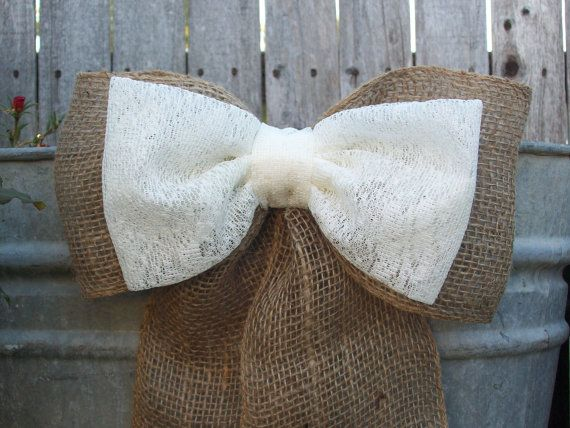 Burlap and Lace Pew Bows, Double Bow, White or Ivory Lace Available, Rustic Wedding Decor, Country via Etsy