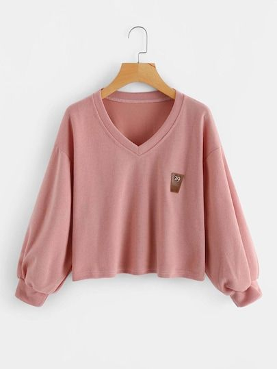 Shop V Neckline Lantern Sleeve Patch Sweatshirt online. ROMWE offers V  Neckline Lantern Sleeve Patch Sweatshirt   more to fit your fashionable  needs. fa2dd3c2d