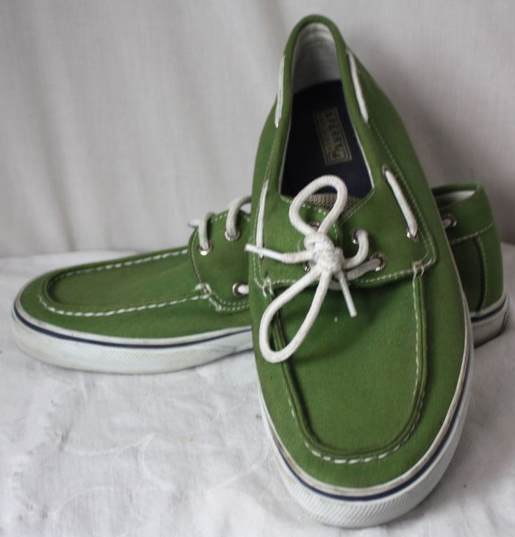 Sperry Top-Siders Mens Green Canvas 2 Eye Hole Boat Shoes Size 11 M #sperry #BoatShoes