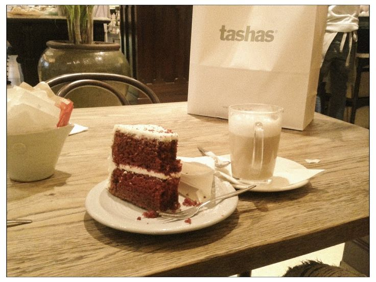 My favourite red velvet cake and chai latte - Tasha's VA Waterfront