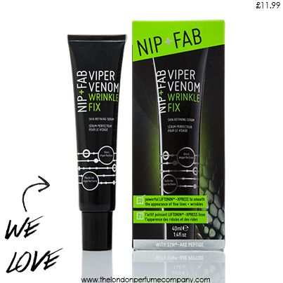 We ♥ Viper Venom.  Read all about the perfect wrinkle fix for her here > http://www.thelondonperfumecompany.com/nip-fab-viper-venom-wrinkle-fix-for-her.html #bbloggers #skincare #nipandfab #beauty #wrinkle #diy #cream #snake #venom