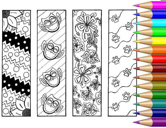 Adult Coloring Bookmarks Owls Flowers By BigTRanchColoring