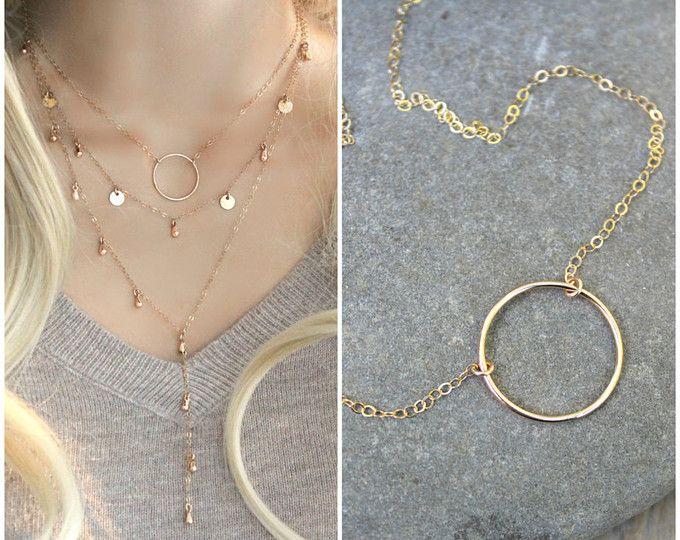 Collana del cerchio di eternità, 14k oro riempito stratificazione collana, anello eternity, semplice moderno minimal