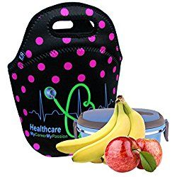 Healthcare Pros Insulated Lunch Tote Bag Nurses Gift X-large, X-Thicker Insulation Stylish Luxury Gift Idea by EatRite (Black/FuchsiaDot)