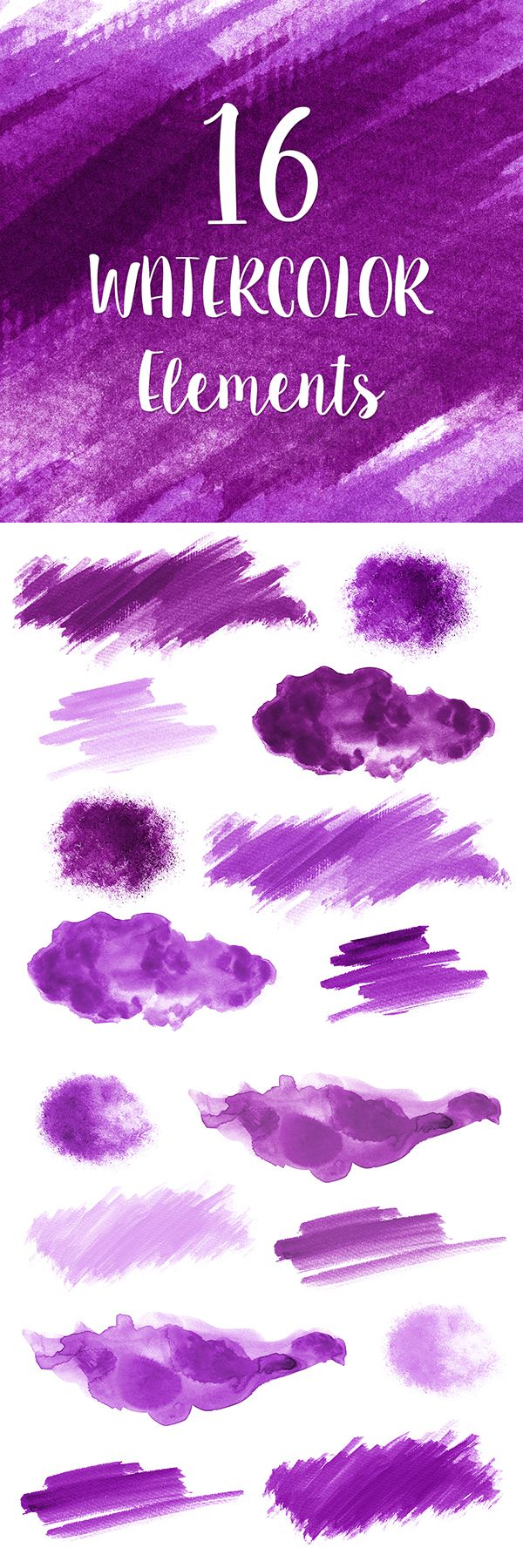 16 Purple #Watercolor Splotches, Splatters and Brush Strokes; Purple Watercolor Clip Art, Transparent Background PNG; Purple Watercolor Design Elements