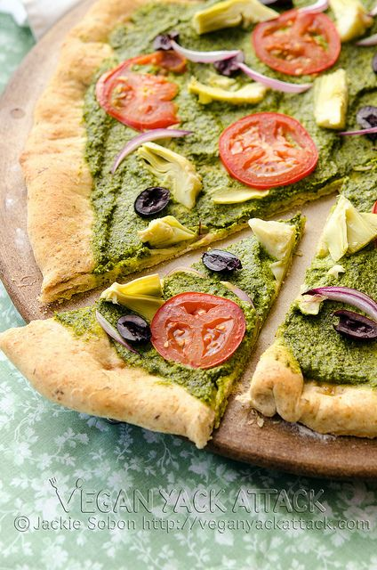 Mediterranean Pesto Pizza. Mmm, the crust has Italian herbs in it.  Kalamati olives & artichoke hearts & red onion on top! I don't even want to talk about it. I just want to make it!