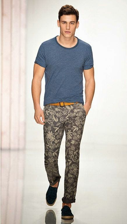 patterned pants are perfect for the summer -- paired with a fitted neutral tee. menswear summer style.