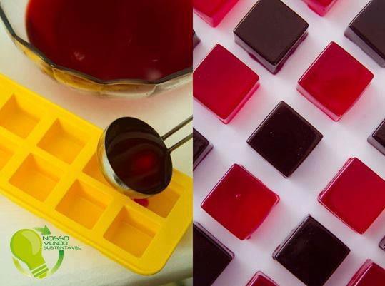 Bem mais fácil fazer salada de frutas de gelatina assim...