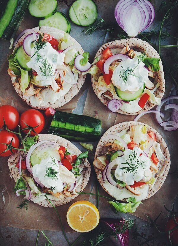 Homemade Chicken Pitas with Jalapeño Whipped Feta and Quick Tzatziki