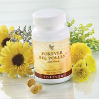 Forever Bee Pollen (artnr 26) wordt verzameld van bloesem uit hoger gelegen, woestijnachtige gebieden. Bijenpollen bevatten veel vitaliserende stoffen. Ze helpen bij vermoeidheid en dragen er toe bij dat u zich fitter en vitaler voelt. Pollen hebben ook een goede invloed op uw algehele weerstand. Ideaal om o.a. te gebruiken in de zomermaanden als het gehalte pollen in de lucht relatief hoog is.   N.B. Bevat geen kunstmatige kleur, smaak of geurstoffen