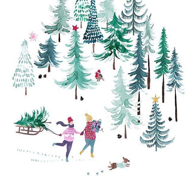 Wishing this scene was my actual life! Getting ready for Christmas never looks this pretty. #christmasiscoming #christmas2017 #debenhams #ashleythomas #athomewithashley #illustrator #designersofinstagram #britishdesign #christmascollection #kitchenaccessories