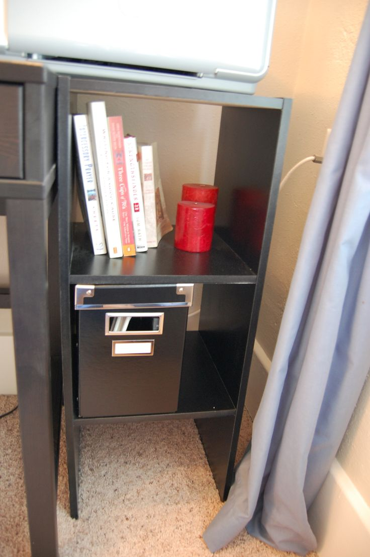 This is my secret hiding place for cables, cords, and my power strip that serve my desk. I hate the look of errant cords, so I needed a solution. I came across this post on Young House Love and f...