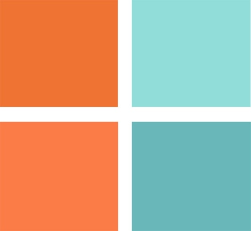 Orange and blue color palette: Light My Fire AC211-5 and Cool Turquoise KM3238-2, both from Kelly Moore, and Castaway DE 5738 and Tangerine Dream DE 5160, both from Dunn Edwards.