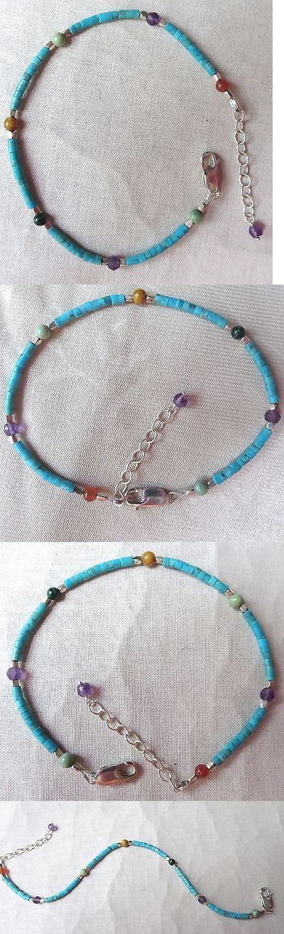 Anklets 110634: Genuine Turquoise Heishi Bead Gemstone Sterling Silver Ankle Bracelet -> BUY IT NOW ONLY: $47.99 on eBay!