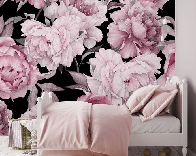 Schalen Und Stick Tapete Selbstklebende Tapete Abnehmbare Etsy Wallpaper Pink And White Mural Wallpaper Peony Wallpaper