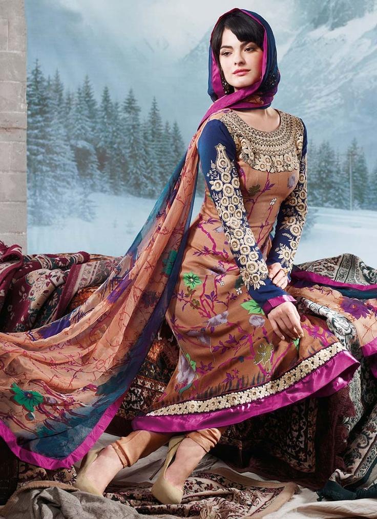 Rust Printed Pashmina Pakistani Suit