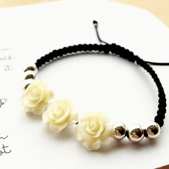 Pulsera de rosas, Flores, Rosas resina, Plata de ley, Trenzado a mano, Complementos mujer.
