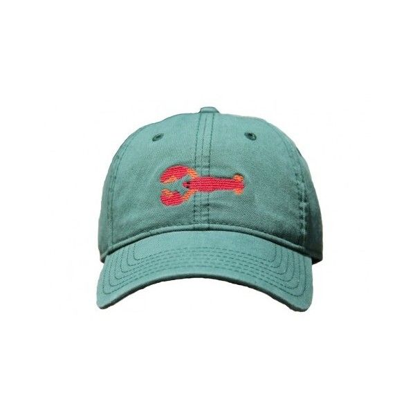 Green Hat with Needlepoint Lobster by Harding-Lane ($35) ❤ liked on Polyvore featuring accessories, hats, green baseball cap, preppy hats, green baseball hat, harding lane hats and baseball cap