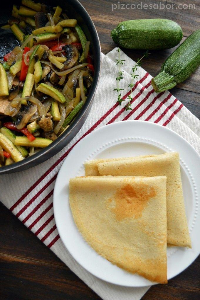 Vegetales salteados & crepas de avena con vegetales www.pizcadesabor.com