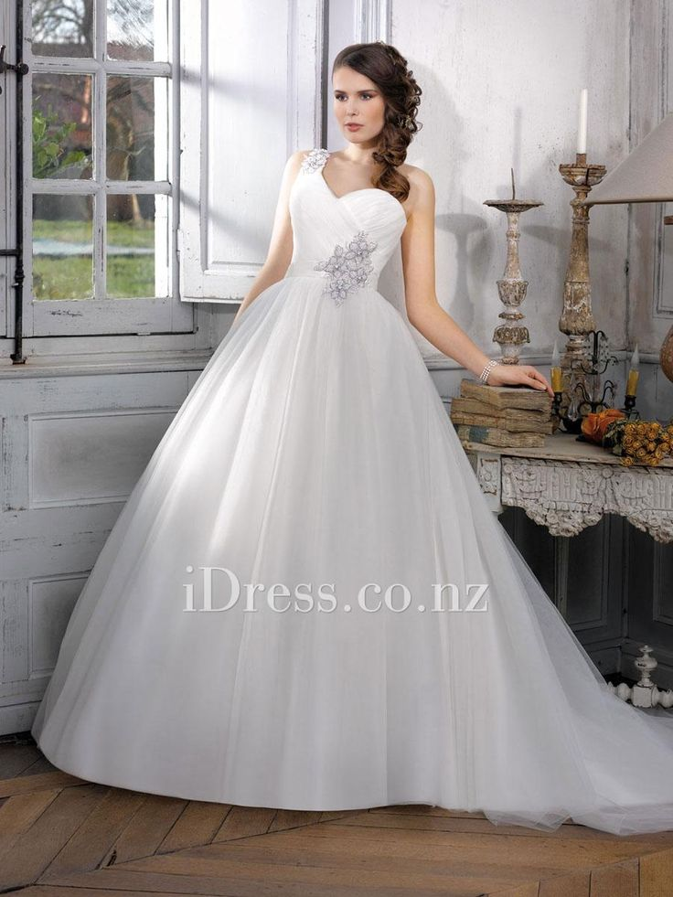 elegant ball gown one shoulder sleeveless floral wedding dress from idress.co.nz