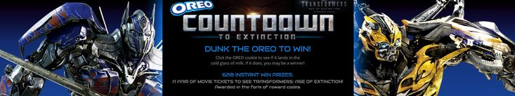 """The """"Countdown to Extinction and Win"""" Sweepstakes & """" Countdown to Extinction and Win"""" Instant Win Game CALLING ALL FANS! In celebration of TRANSFORMERS: AGE OF EXTINCTION, we're giving away the most epic of prizes. You could WIN our Grand Prize trip to Hollywood, California for a family of four to tour the legendary Paramount Pictures studio lot and experience Transformers™: The Ride-3D at Universal Studios Hollywood! We're also giving away 620 ...read more!."""