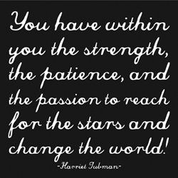 You have within you the strength, the patience, and the passion to reach for the stars and change the world!   ~ Harriet Tubman