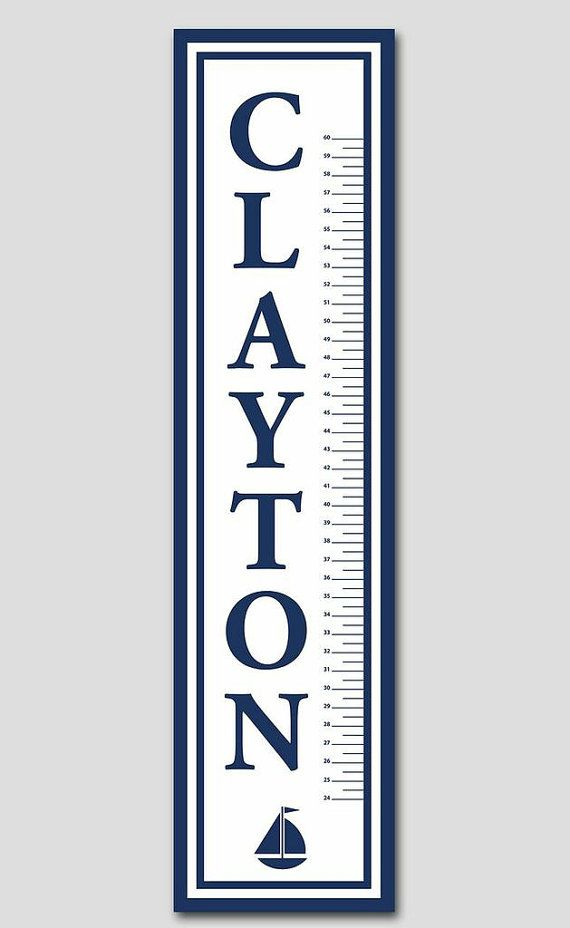 Classic Navy Growth Chart to match any blue nursery We can make - boys growth chart