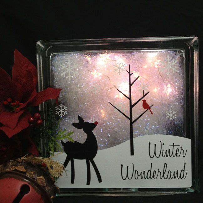 Winter Wonderland Glass Block by Beverlys.com. Use crystal fiber with lights inside block.