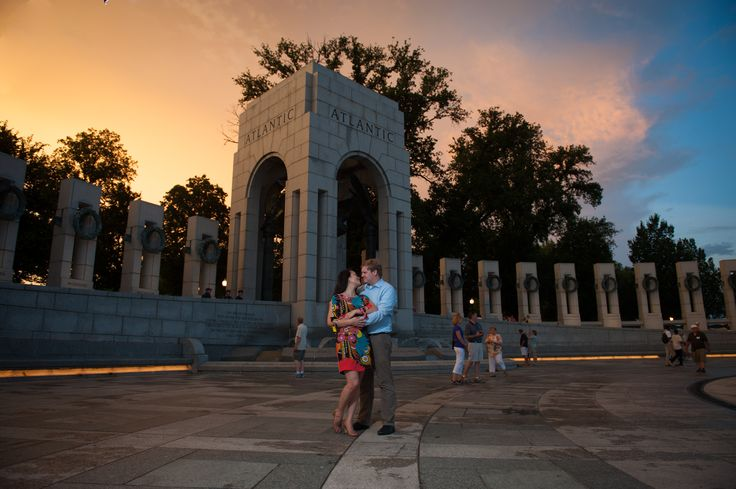 The sunset was beautiful as it shined down on the Washington Monuments for Christian and TQ's engagement session!