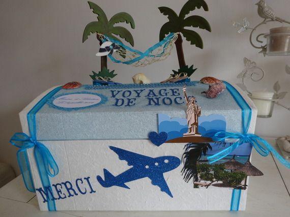 Urne de mariage sur le thème du voyage de noce et du bleu turquoise